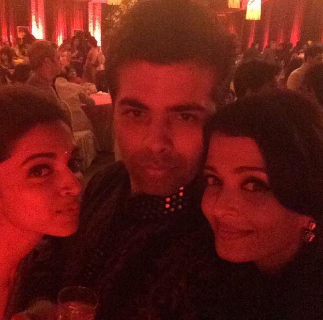 Aishwarya Rai Bachchan, Deepika Padukone and Karan Johar