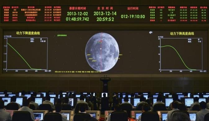 A giant electronic screen displays the mission operation information of China's Chang'e-3 lunar probe as researchers work at the Beijing Aerospace Control Center, in Beijing, December 14