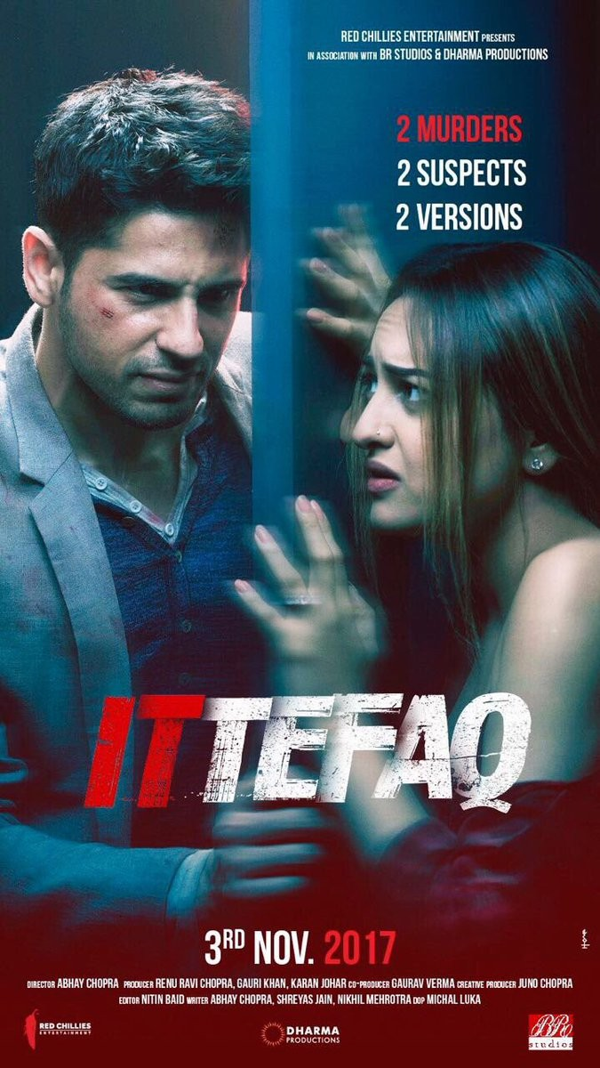 Sidharth Malhotra,Sonakshi Sinha,Akshaye Khanna,Ittefaq movie poster,Ittefaq poster,Ittefaq first look,Ittefaq first look poster