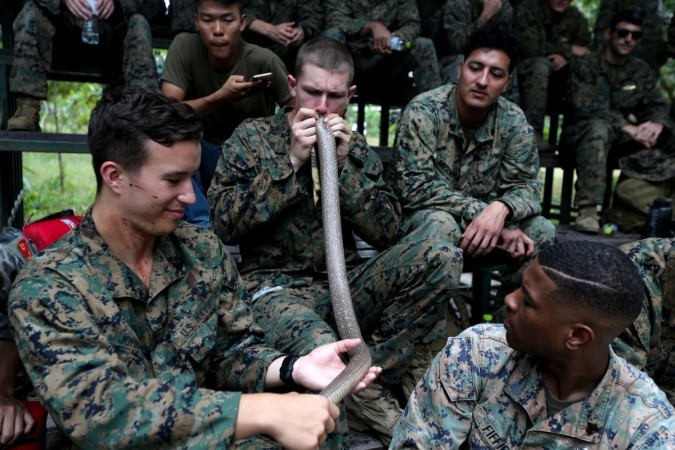 Cobra Gold military exercise,Cobra Gold military,US marine drinks cobra blood straight from cobra's mouth,US marine drinks snake blood,Cobra Gold 2018,drinking blood from cobra's mouth,drinking snake blood,eating scorpions and tarantulas,snake b