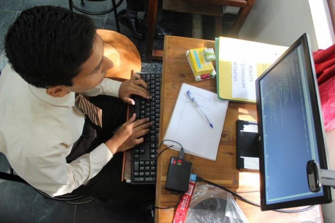 A student uses the Raspberry Pi setup