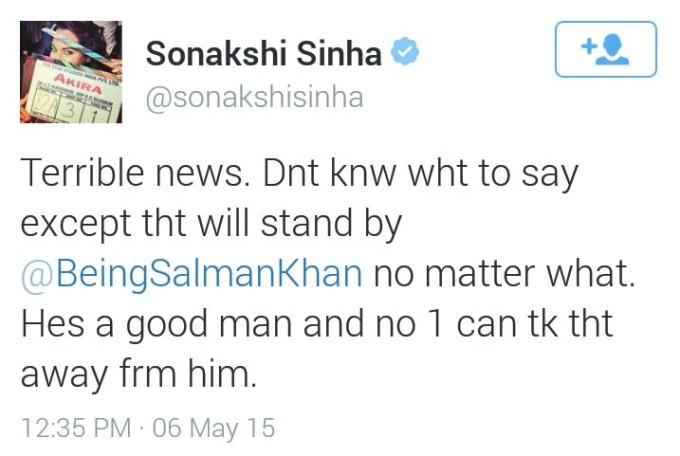 Sonakshi Sinha Tweet About Salman Khan Verdict