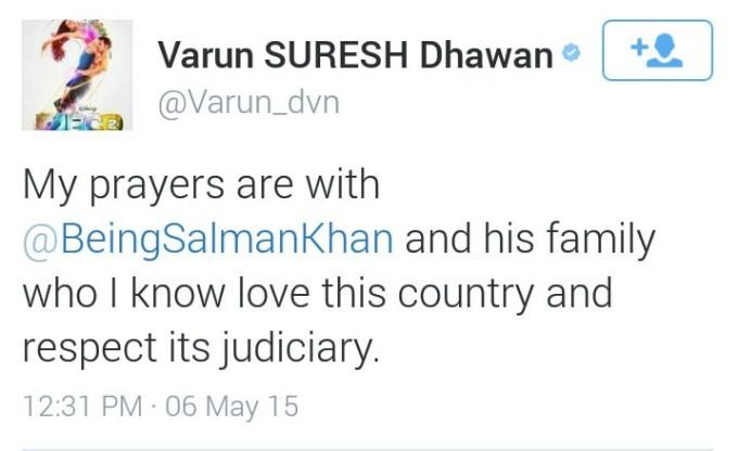 Varun Dhawan Tweet About Salman Khan Verdict