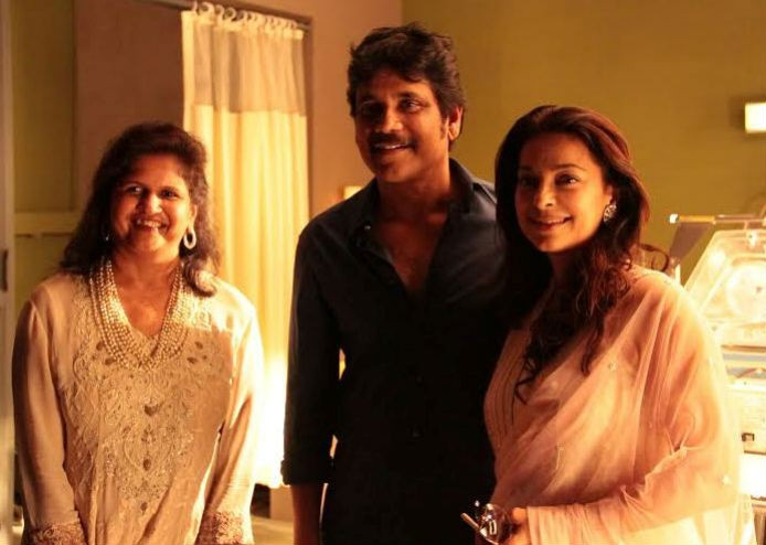 Juhi Chawla is seen with Nagarjuna