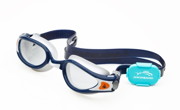 iSWIMBAND strapped to swimming goggles