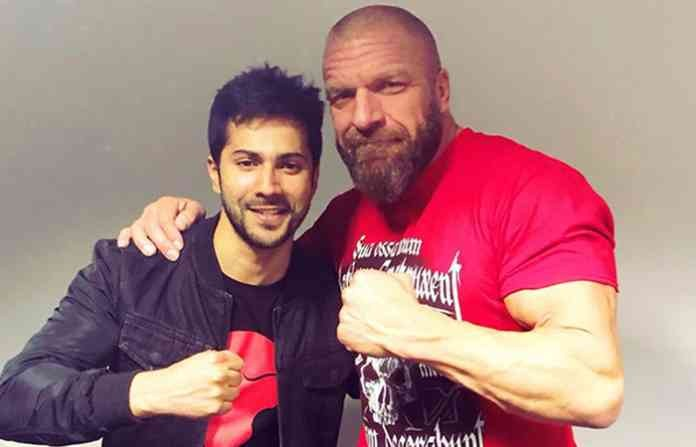 Varun Dhawan meets Triple H,Varun Dhawan meets Sasha Banks,Varun Dhawan,Sasha Banks,Triple H,Triple H in India
