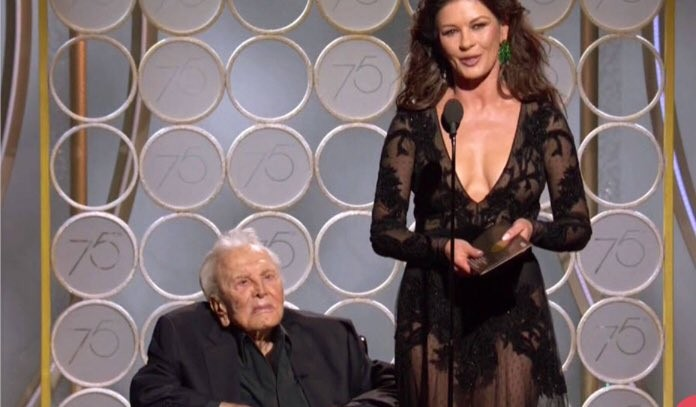 Kirk Douglas,actor Kirk Douglas,Kirk Douglas at Golden Globes,Golden Globes,Hollywood legend Kirk Douglas,Catherine Zeta-Jones