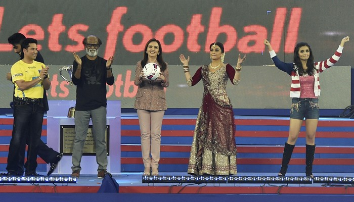 ISL 2015 opening ceremony,Indian Super League 2015 opening ceremony,Indian Super League 2015,Indian Super League,ISL 2015,Superstar Rajnikanth,Rajnikanth,Sachin Tendulkar,Arjun Kapoor,Aishwariya Rai,Amitabh Bachchan,Mukesh Ambani,Alia Bhatt