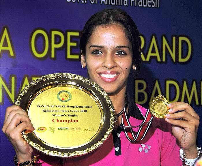 Saina Nehwal with Women's Singles Champion Trophy in Hong Kong.