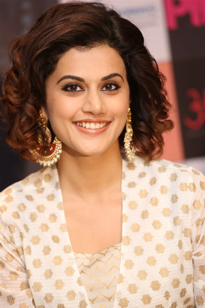 Bollywood movie 'Pink' Press meet held at Hyderabad. Actress Taapsee Pannu, Kirti Kulhari, Angad Bedi and others graced the event.
