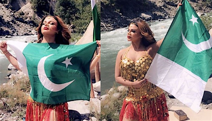 Rakhi Sawant poses with Pakistan flag