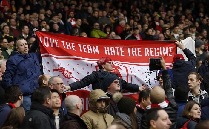 Arsenal fans, banner, Arsene Wenger, Arsenal, Stan Kroenke