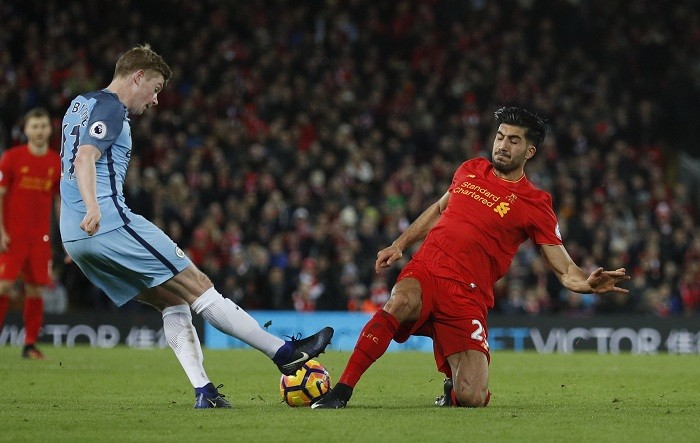 Manchester City vs Liverpool, Emre Can, Kevin de Bruyne, Premier League.