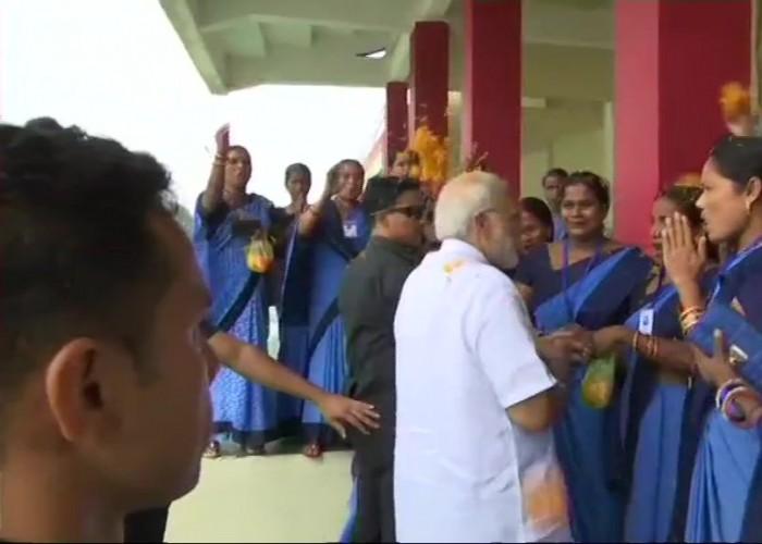 PM Narendra Modi arrives in Odisha, meets Anganwadi workers