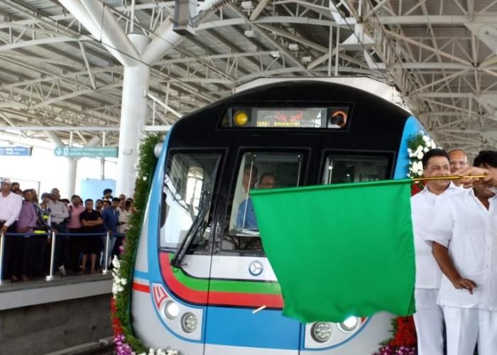 LB Nagar-Ameerpet Metro Rail inaugurated by Governor Narasimhan