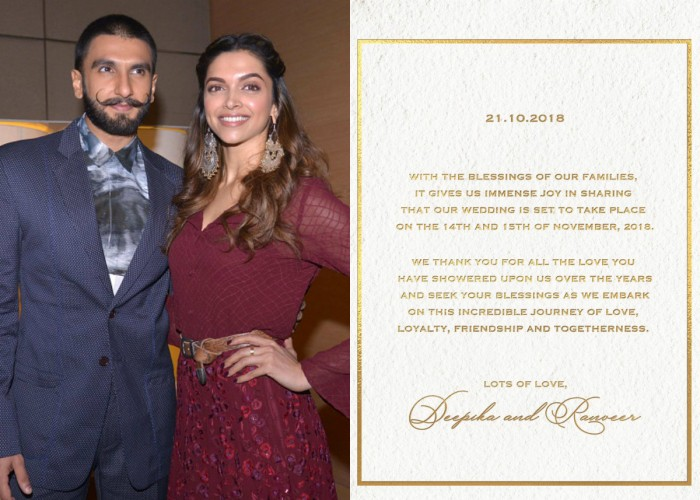 Deepika Padukone and Ranveer Singh announce their wedding dates