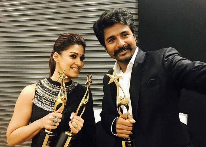 Velaikkaran pair Sivakarthikeyan and Nayanthara at SIIMA awards 2017.