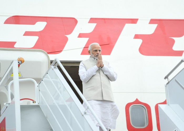 Indian Prime Minister Narendra Modi arrived here on Monday on a nine-hour visit during which he will hold an informal summit with Russian President Vladimir Putin.