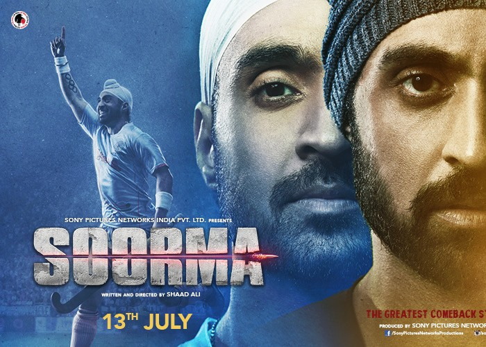 Diljit Dosanjh who will be next seen in Soorma a Biopic made on the legend Sandeep Singh unveiled the new poster of the movie at his UK concert. The actor has left no stone unturned in portraying India's ex-captain and hockey ace, Sandeep Singh, in the upcoming biopic 'Soorma'. He unveiled the poster at a sold-out show at Birmingham Arena with which he became the first Indian to sell so many tickets for the venue. Diljit is an international icon and has undergone intense physical training and diet changes to prep for the role and for this, he was trained by the legend Sandeep Singh himself. The poster shows two different sides from Sandeep's life, the time he was on the wheelchair and his picture form the hockey ground. Diljit spent a lot of time with Sandeep to understand him and the game better from his point of view and he in-depth spoke about it on the show.