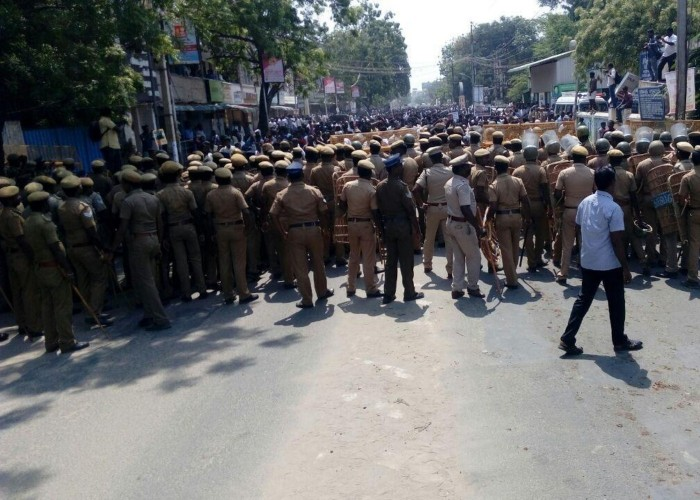 Massive protests erupt in anti Sterlite industry protest at Tutucorin district of Tamilnadu, Protests turned violent and police resorted latti charge, also used tear gas shells to control the crowd. Police personnel during protests over the demand for the closure of Vedanta's Sterlite copper smelter in Tamil Nadu's Thoothukudi; in Tuticorin on May 22, 2018.