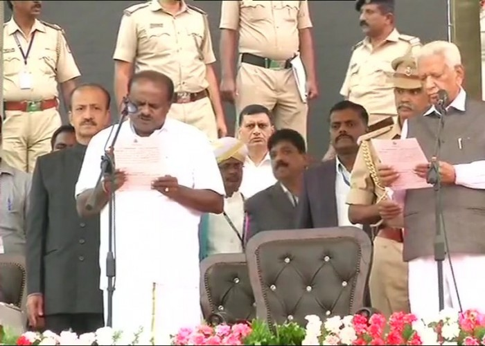 Janata Dal-Secular leader H.D. Kuamaraswamy on Wednesday took oath as Karnataka's 25th Chief Minister, heading a coalition government with the Congress. Governor Vajubhai Vala administered the oath of office to Kumaraswamy at 4.30 p.m. on the grand steps of the state Secretariat in the presence of national and regional leaders from across the country.