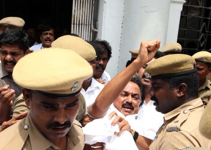 DMK working President MK Stalin, who was holding a protest outside Tamil Nadu Secretariat over Sterlite Protests in Thoothukudi, detained by police. DMK leader M.K. Stalin on Wednesday again called for the resignation of Tamil Nadu Chief Minister K. Palaniswami after the killing of 10 persons in police firing on protesters marching against the Sterlite Copper Smelting plant in Thoothukudi. Talking to reporters at the airport, the DMK leader reiterated his demand, seeking the resignation of the Chief Minister and ouster of the Tamil Nadu police chief. Stalin also sought to know who ordered police firing on the protesters who were demanding the closure of Vedanta's Sterlite Copper unit over pollution concerns.