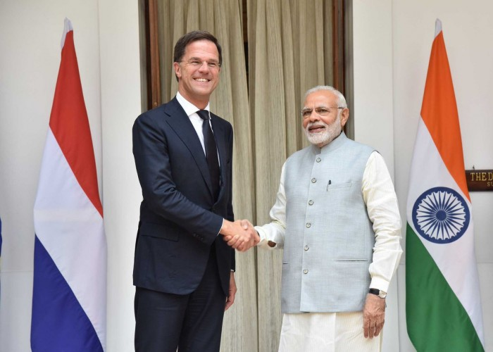 Prime Minister Narendra Modi on Thursday received his Dutch counterpart Mark Rutte here ahead of bilateral talks. Stating that the Netherlands is important partner in India's flagship initiatives, External Affairs Ministry spokesperson Raveesh Kumar tweetted that Modi welcomed the Rutte at Hyderabad House ahead of the talks.