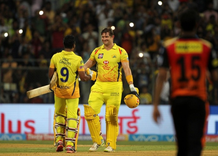 Shane Watson was back to his brutal best as the opener's scintillating unbeaten 117 runs helped Chennai Super Kings lift their third Indian Premier League (IPL) title, thrashing Sunrisers Hyderabad by eight wickets in the summit clash here on Sunday. Making a comeback after serving two years of a ban, the Yellow Brigade stood up to their reputation of being one of the best team in the cash-rich league. The Mahendra Singh Dhoni-led side hunted down a competitive 179-run target against one of the best bowling attacks of the current season with nine balls to spare. Watson was in devastating touch in his entire 57-ball innings, which comprised of 11 boundaries and eight massive hits into the stands. The Australian along with Suresh Raina (32) forged a 117-run match-winning partnership to put Chennai ahead of their opponents. Chasing 179, Chennai lost their first wicket in the fourth over as Opener Faf du Plessis (10) was caught and bowled by pacer Sandeep Sharma when the scoreboard was reading just 13 runs. Raina then joined Watson and the duo started slamming bowlers all round the park at will. The strike mostly remained with Watson and the Australian all-rounder took advantage beautifully by unleashing some ferocious shots.