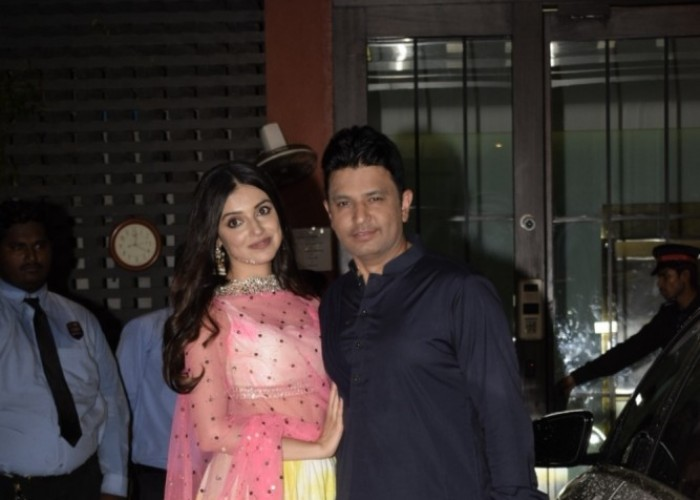 Bhushan Kumar and Divya Khosla Kumar attended Salman Khan's Eid party on the weekend. Producer Bhushan Kumar who will be collaborating with Salman for Bharat was seen making a stylish entry at the star-studded party. They both kept it traditional, Bhushan Kumar wore a Purple kurta with Black salwar while his lady love Divya Kumar Khosla wore a floral print lehenga. The power couple always make headlines for their stylish spotting just as their movies does. Bhushan Kumar's T-Series has been enjoying a golden run at the box office with back to back successes in the last two years. Out of the four films minting over 100 crores this quarter, the producer has two films to his credit with 'Sonu Ke Titu Ki Sweety' and 'Raid'.