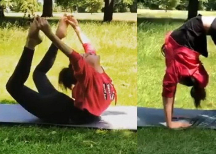 Bollywood 'Queen' Kangana Ranaut celebrated International Yoga Day in London, where she is shooting for her upcoming movie 'Mental Hai Kya', with Rajkumar Rao. The 'Rangoon' star shared photos and videos of her performing yoga at London's Hyde Park. The official Instagram account of the actress' team shared the image, writing,