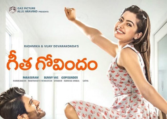 The first look poster of the forthcoming Vijay Deverakonda starrer Geetha Govindam has been launched. The poster shows Vijay Deverakonda and Chalo fame actress Rashmika Mandanna look cool & breezy in the poster. Geetha Govindam is written, directed by Parasuram and produced by Bunny Vas under the Allu Aravind's GA2 Picture banner. The film's soundtrack album and background score will be composed by Gopi Sundar, while Cinematography handled by Manikandan. The makers of the film are planning to release the movie in August.