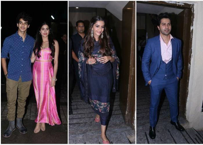 Celebs like Sonam K Ahuja, Varun Dhawan, Ishaan Khattar and Janhvi Kapoor at Dhadak special screening.
