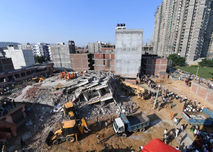 At least three persons have died in a twin-building collapse in Uttar Pradesh's Greater Noida area, police said on Wednesday. The incident in Shahberi village took place late on Tuesday, apparently due to