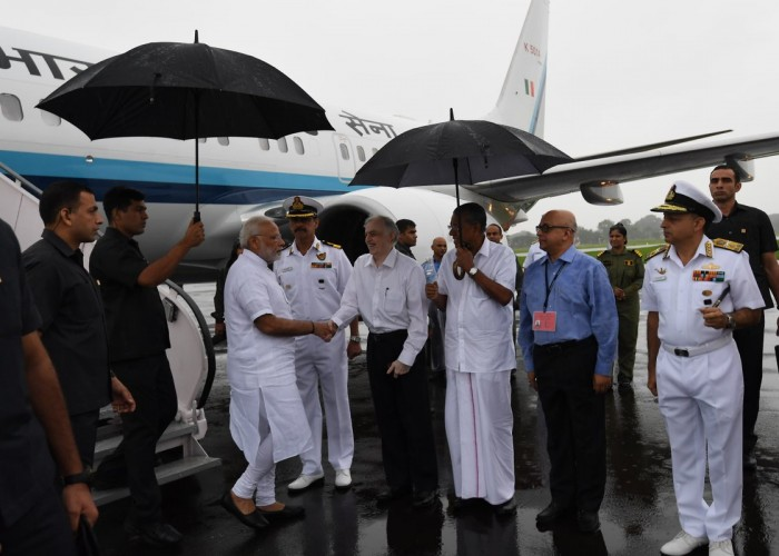 PMModi arrives in Kochi for aerial survey of Kerala flood-affected areas