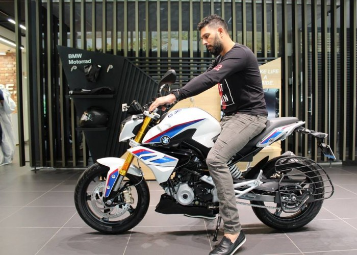 Yuvraj Singh with his new BMW G 310 R bike