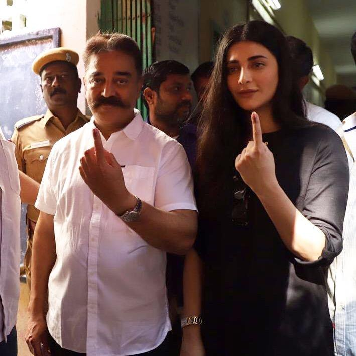 Kollywood Celebs Vote: Kamal Haasan and his daughter Shruti Cast Their Vote