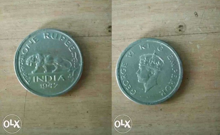 A silver one rupee coin issued in 1947