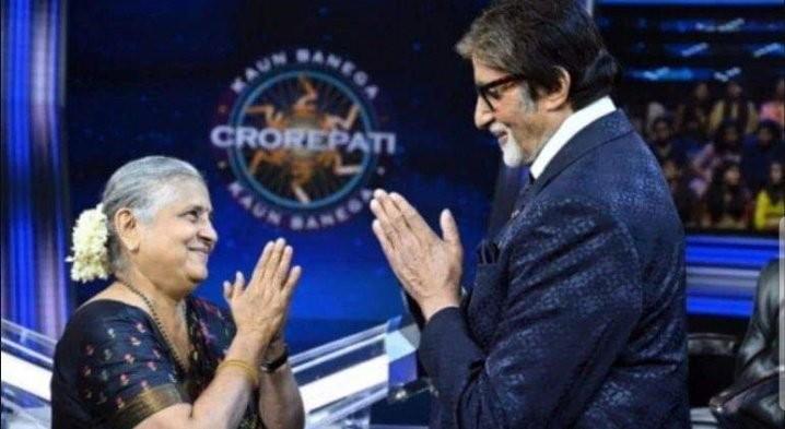 Sudha Murthy with Amitabh Bachchan on KBC 11