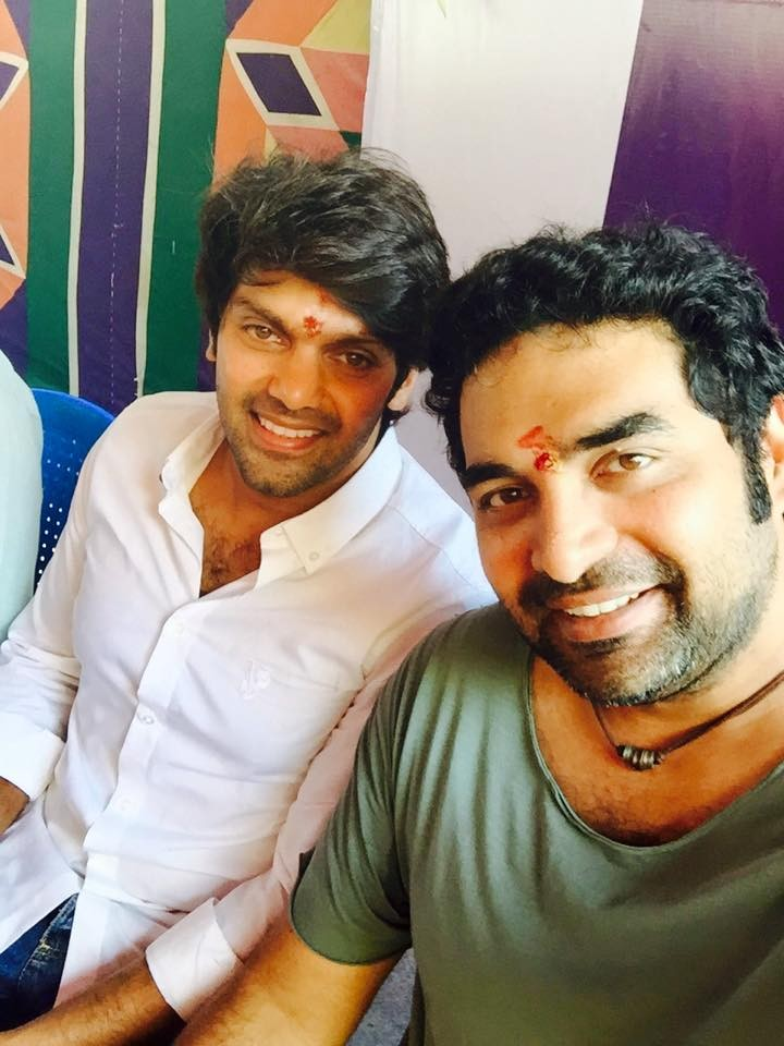 Arya and Gopi Sunder during puja function of 'Bangalore Days' Tamil remake