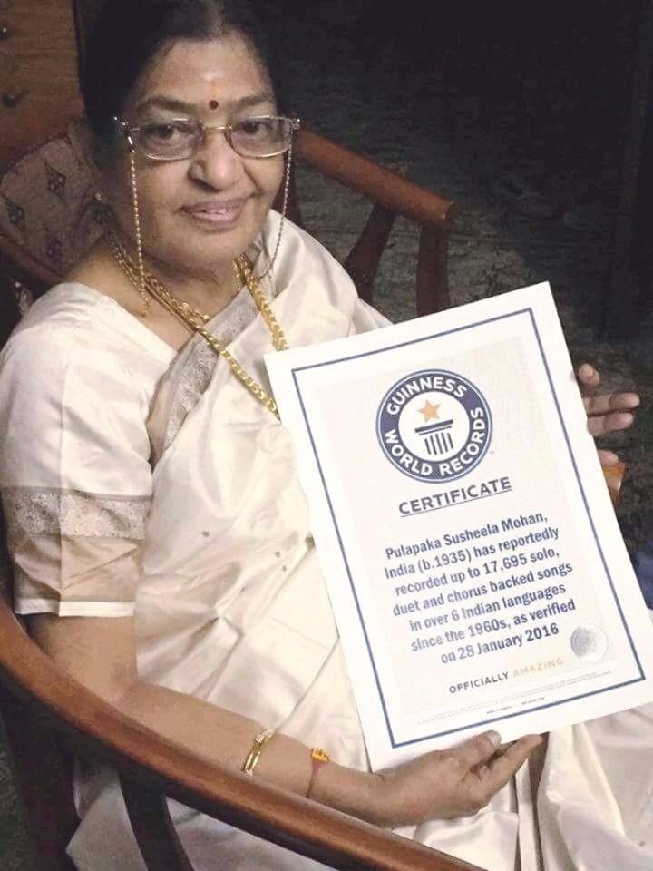 Susheela enters Guinness World Records,Susheela,P. Susheela,Playback singer P. Susheela,singer P. Susheela,Guinness World Records,Legendary playback singer P. Susheela,Legendary singer P. Susheela