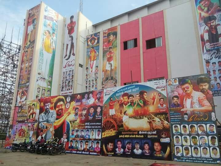 Thalapathy Vijay,Ilayathalapathy Vijay,Vijay,actor Vijay,Mersal mania,Vijay's Mersal mania,Mersal release,Mersal movie release,Mersal mania everywhere,Vijay fans,Vijay banner,vijay cutouts
