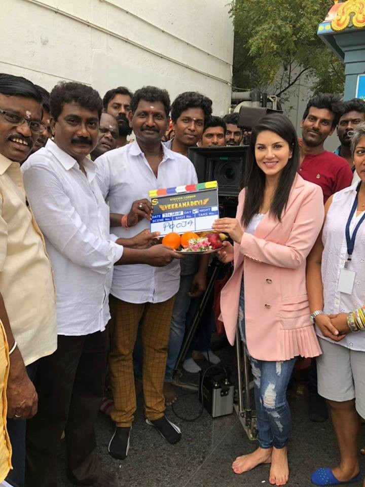 Sunny Leone,actress Sunny Leone,Veeramadevi,Veeramadevi movie launch,Veeramadevi launch,Veeramadevi pooja