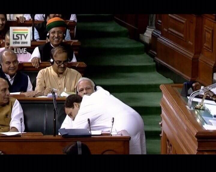 #NoConfidenceMotion,Rahul Gandhi winks,Rahul Gandhi hugs,Rahul Gandhi hugs Narendra Modi,Narendra Modi