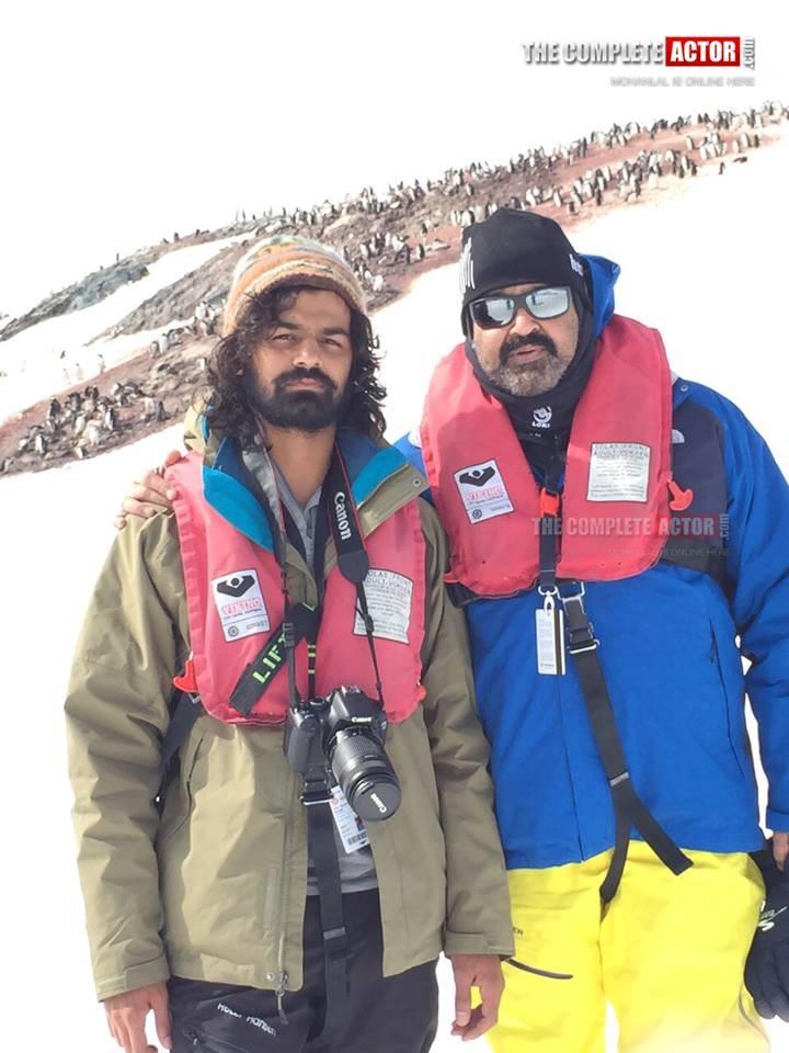 Mohanlal and Pranav Mohanlal in Antarctica
