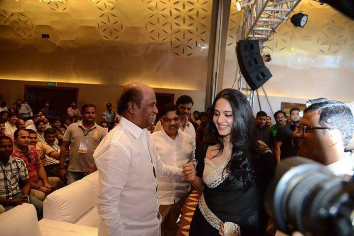 Anushka Shetty and Rajinikanth during