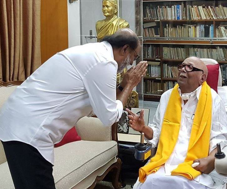 Rajinikanth,Rajinikanth meets DMK chief M Karunanidhi,Karunanidhi,Rajinikanth meets Karunanidhi,Rajinikanth with Karunanidhi