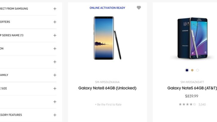 Samsung Galaxy Note 8 listing