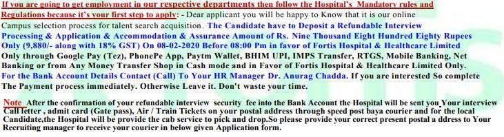 Fortis job scam
