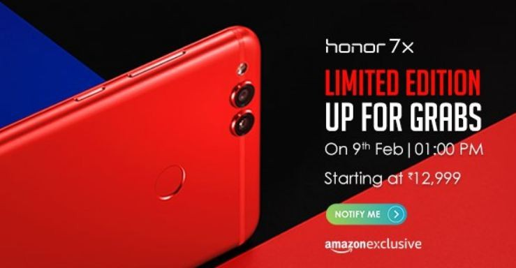 Huawei, Honor 7X RED, India, launch, Amazon exclusive