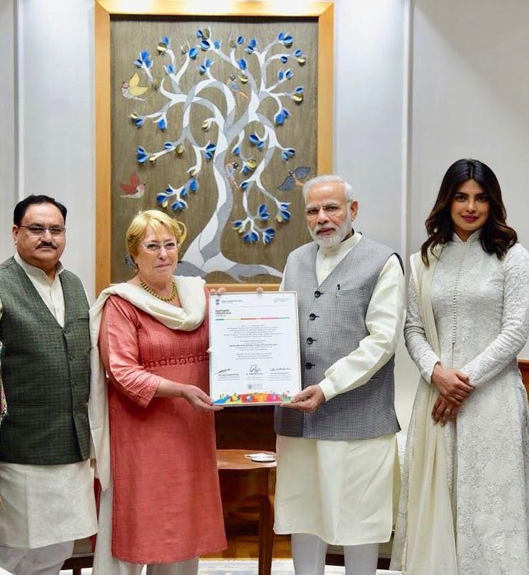 Priyanka Chopra,Priyanka Chopra meets Narendra Modi,Narendra Modi,Priyanka Chopra with Narendra Modi,Unicef goodwill ambassador,Prime Minister Narendra Modi